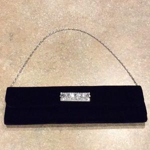Black Velvet Long Rhinestone Clutch